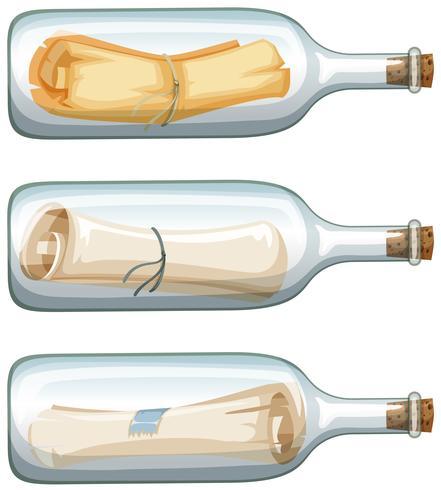 Tre glasflaskor med meddelande