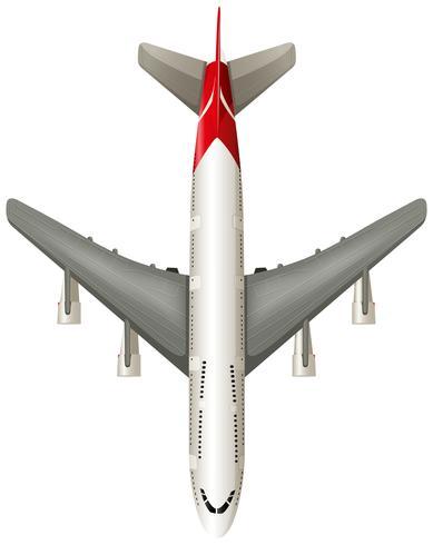 Vista aérea del avión sobre fondo blanco
