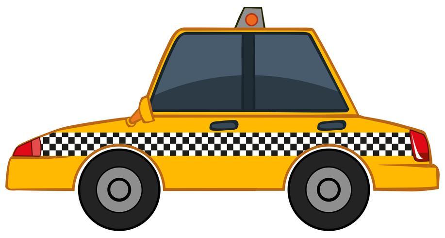 Yellow taxi on white background