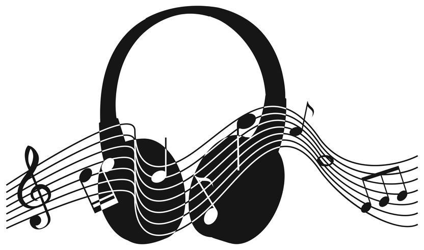 Fone de ouvido de silhueta com musicnotes no fundo