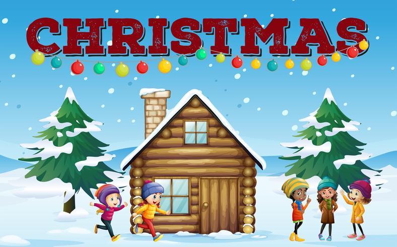 Tema de Natal com crianças e cabana