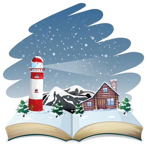 Open book winter theme