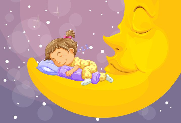 Liten tjej som sover på månen