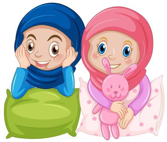 Muslim girl friend on white background Download Free Vector Art