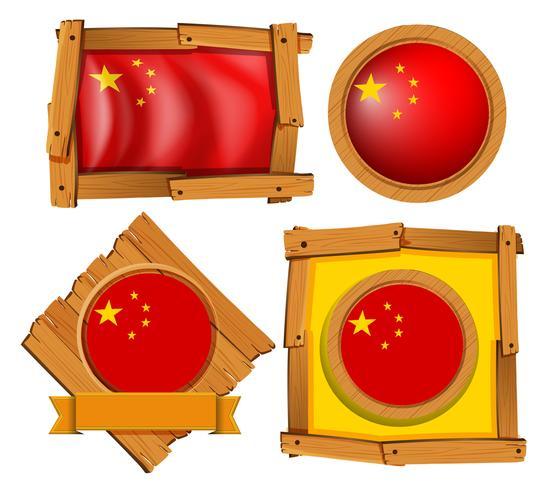 Drapeau de la Chine dans différents modèles de cadre