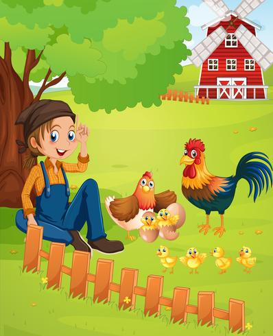 Granjero y gallinas en la granja.