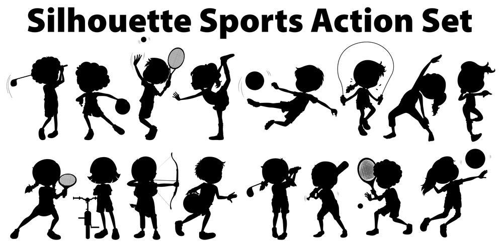 Silhouet sport actie ingesteld op witte achtergrond