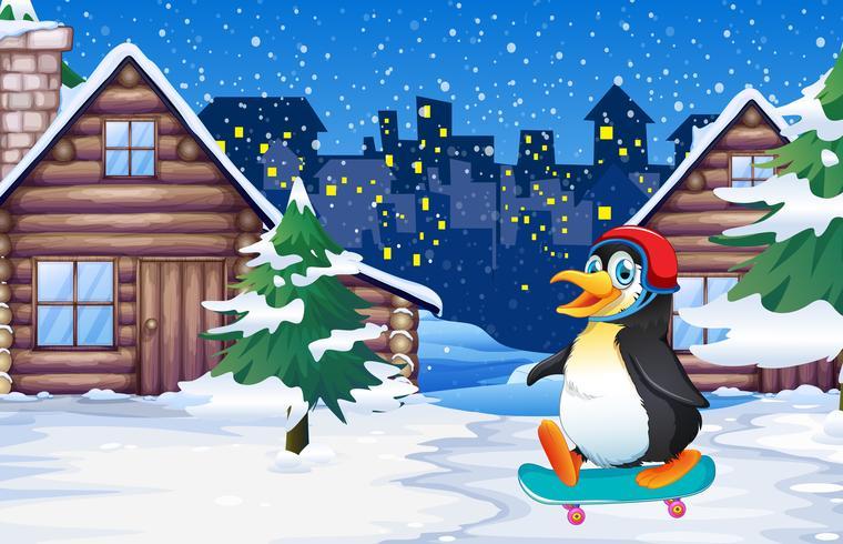 Penguin playing skateboard in winter