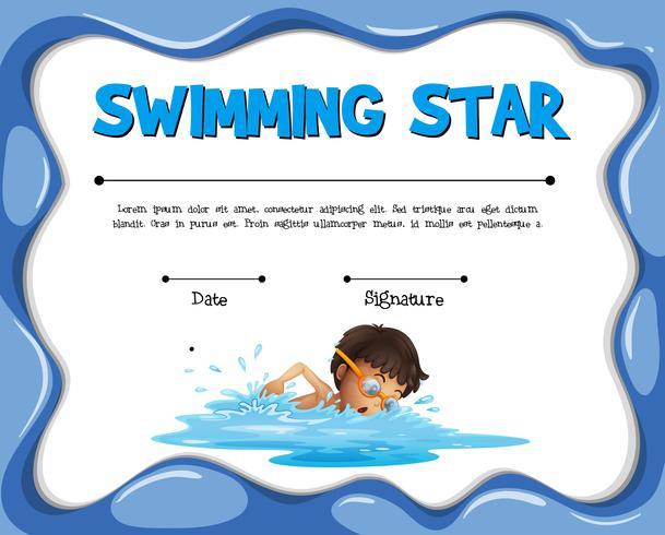 Zwemmende ster certificatie sjabloon met zwemmer