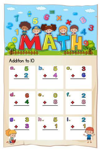 Math worksheet for addition  vector