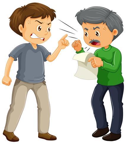Zwei verärgerte Männer streiten