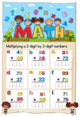 Math-werkblad voor vermenigvuldiging van twee cijfers en cijfers van twee cijfers