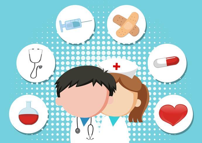 Medicinsk tema bakgrund med läkare och utrustning vektor