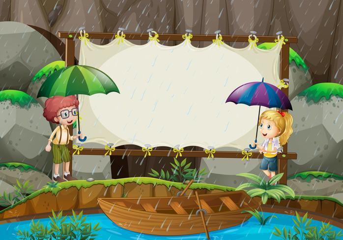 Bannermalplaatje met kinderen in de regen