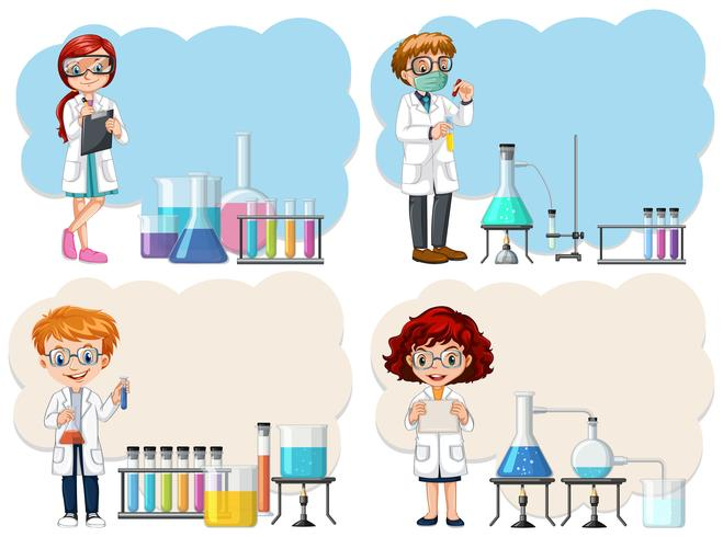 Un joven científico en la plantilla de laboratorio