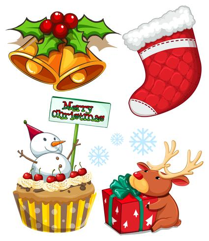 Juluppsättning med snögubbe och klocka vektor