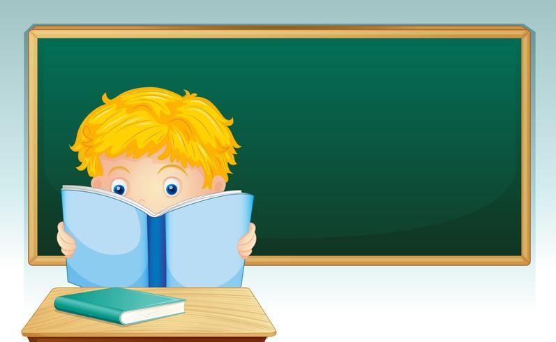 Menino, leitura, livro, em, sala aula