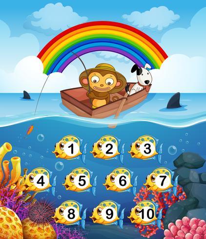 Mono en el barco de pesca vector