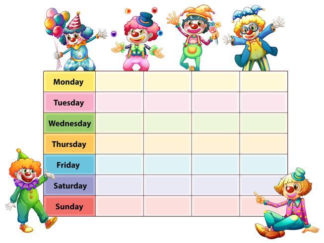 Tidsplan mall med veckodagar och clowner