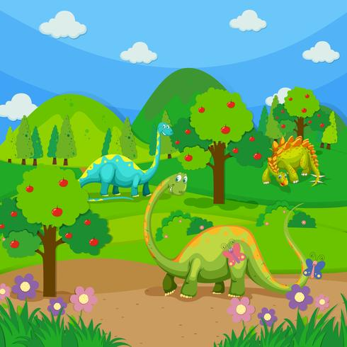 Three dinosaurs in the forest vector
