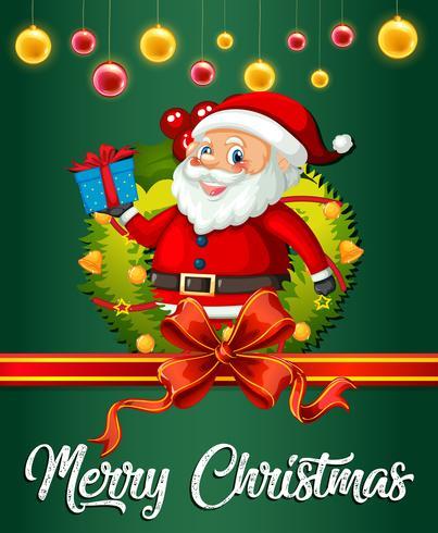 Santa en plantilla de tarjeta de Navidad