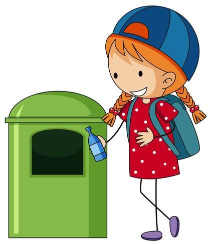 Girl throwing bottle in trashcan