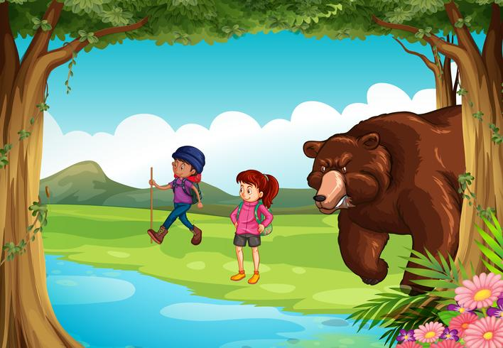 Mean bear and two hikers in the forest