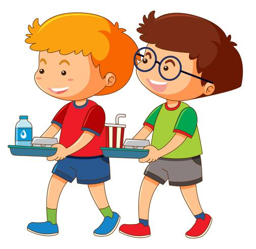 Due ragazzi tenendo il vassoio di cibo