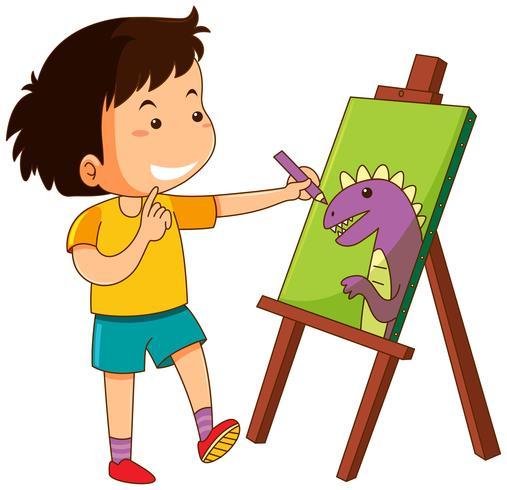 Weinig jongenstekening dinosaurus op canvas