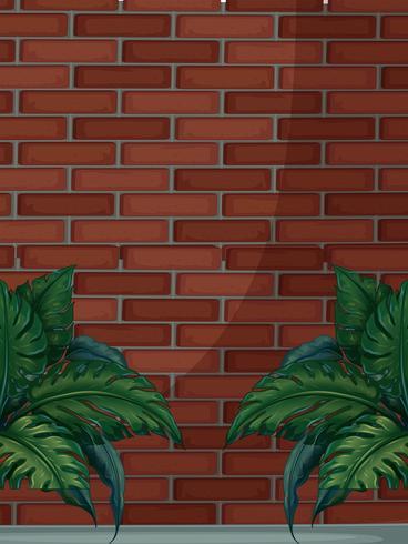 Backsteinmauer mit grünen Blättern