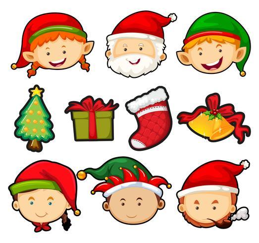Tema navideño con personas y adornos.