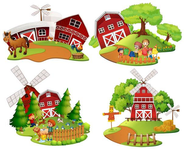 Four scenes of farmyard with people and animals