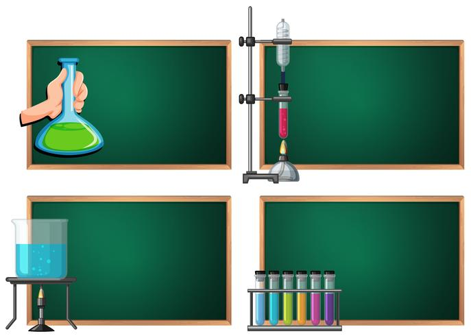 Four banner template with science equipments