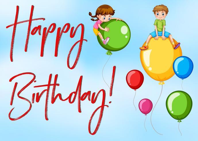 Cartão de feliz aniversário com crianças e balões