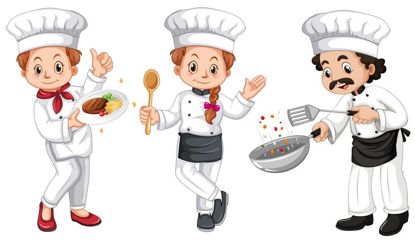 Tre karaktärer av kockar