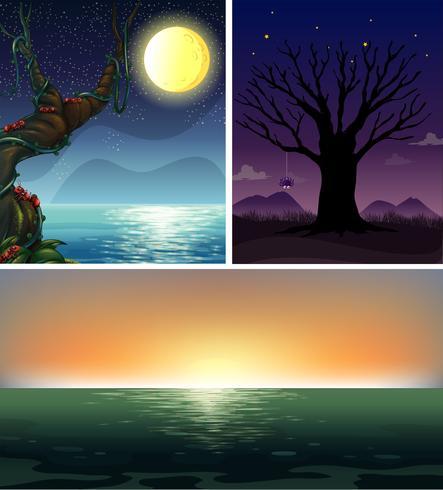 Tres escenas nocturnas del océano.