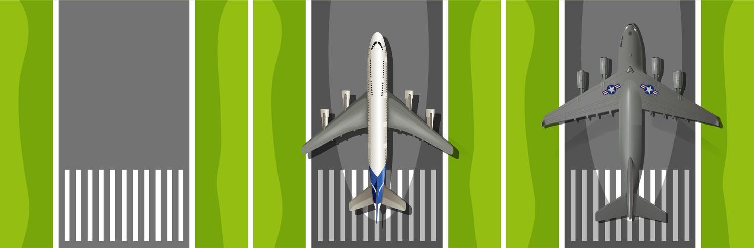 Avion, décollage, piste vecteur