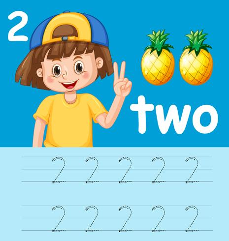 Number two tracing worksheets