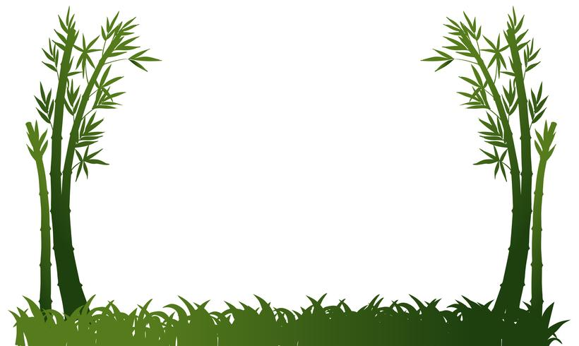 Plantilla de fondo con bambú y hierba