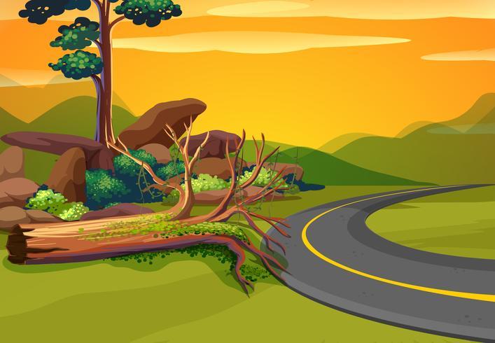 Scena con strada per le montagne