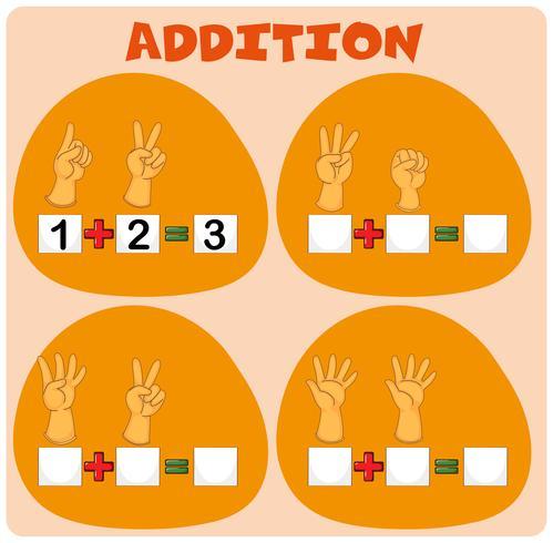 Mathe-Arbeitsblatt mit dem Hinzufügen von Fingern