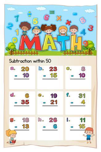 Hoja de trabajo de matemáticas para restar dentro de cincuenta