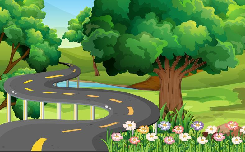 Escena del parque con carretera vacía