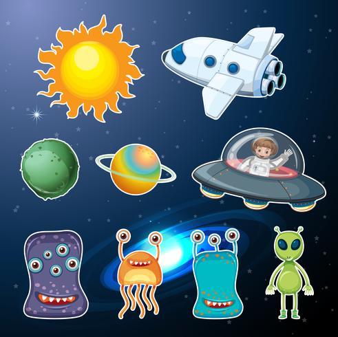 Eine Reihe von Raumelementen