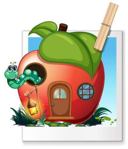 Verme vivendo em casa de maçã vetor