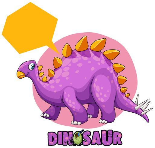 Stegosaurus púrpura sobre fondo blanco
