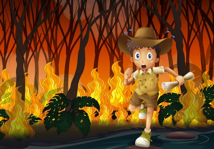 Boy scout running away from wildfire vector