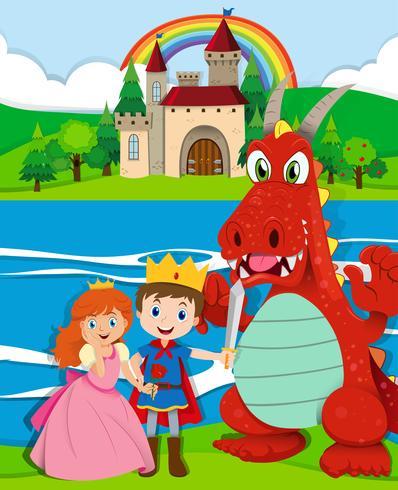 Escena con príncipe y princesa junto al río.