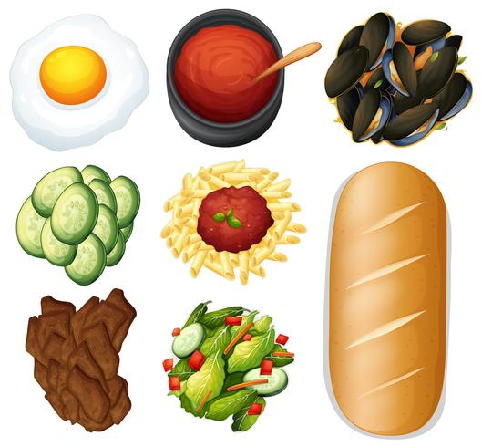 Nourriture et légumes sur fond blanc
