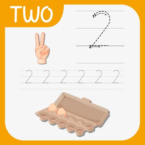 Counting to 10 for the number 2 vector